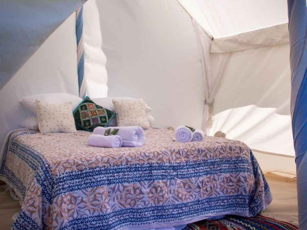 Bed view of Glastonbury Festival Boutique camping