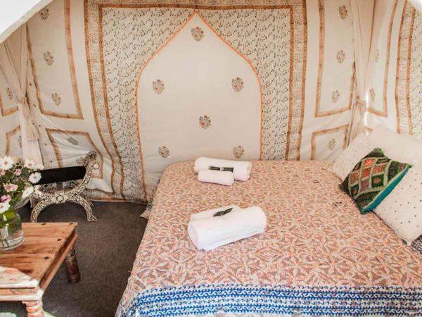 Glastonbury Festival Boutique Camping Bedi tent for 2 bed shot