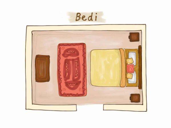 Glastonbury Festival Boutique Camping Bedi tent for 2 bed shot floor plan