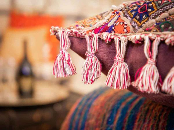 Glastonbury festival luxury boutique Jaipur for 8 close up of cushions