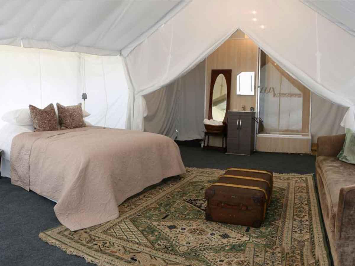 Bed close up Safari tent for Glastonbury music festival