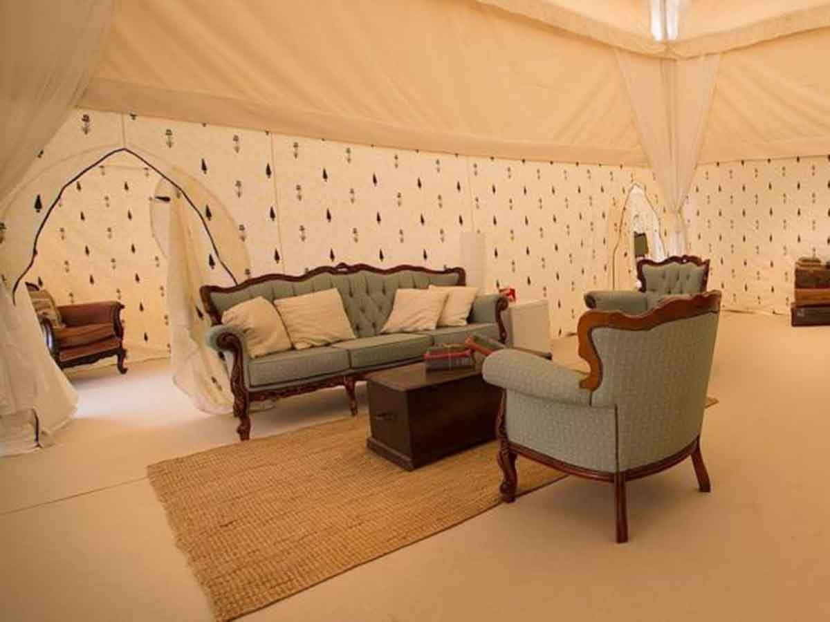 Glastonbury festival luxury glamping mini mughal for 4 living area view