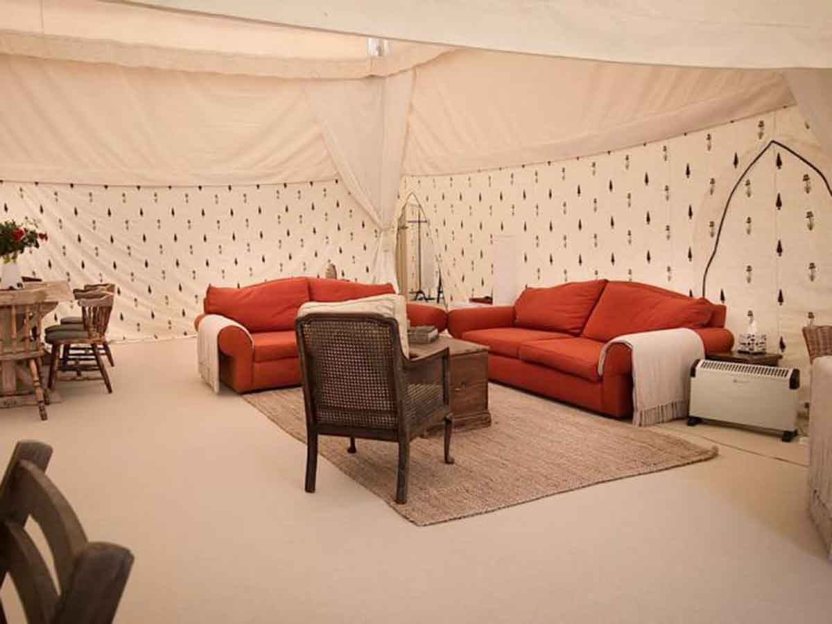 Glastonbury festival luxury camping mini mughal for 4 living room