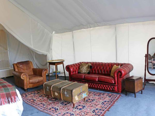 Living area for luxury boutique glamping and camping for Glastonbury Festival