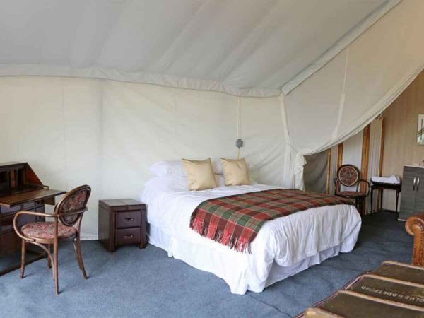 Safari tent bedroom view for glastonbury festival boutique camping accommodation