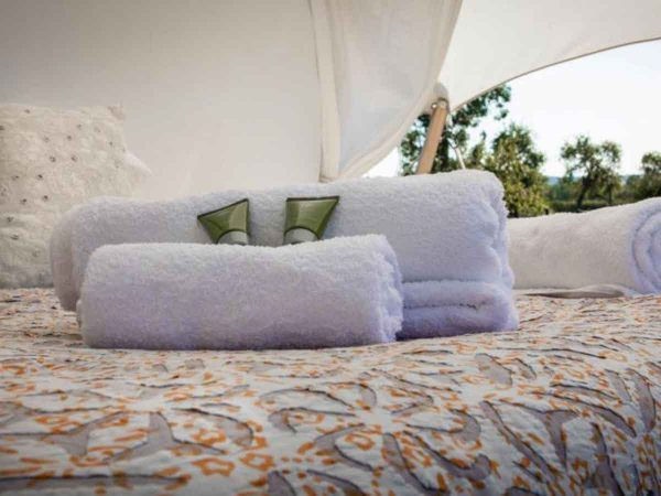 Towels in Mini Safari tent for Glastonbury Festival