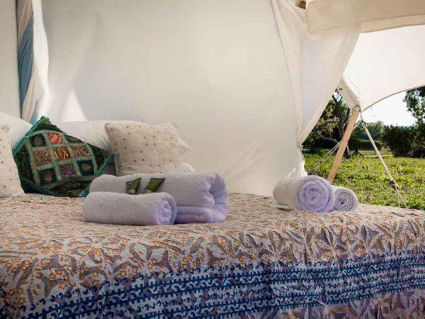 Bed view of Mini Safari Tent for Glastonbury Festival Luxury Camping
